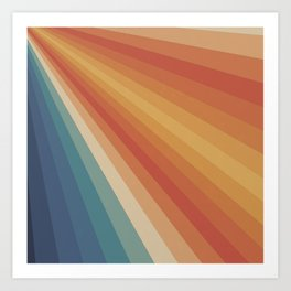 Retro 70s Sunrays Art Print