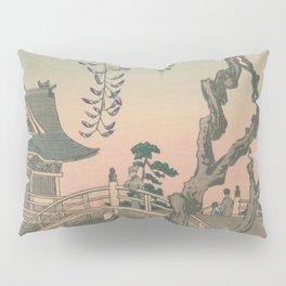 a Bridge and a House. Ukiyoe Landscape Pillow Sham