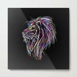 Neon Glow Lion (He)art Metal Print