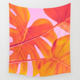 Monstera Quench - Pink & Orange Wall Tapestry