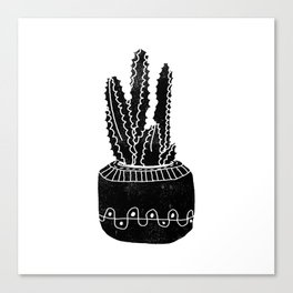 Cactus houseplant linocut cacti desert southwest black and white office home art products Canvas Print
