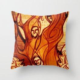 Macbeth Witches - Shakespeare Folio Illustration Art Throw Pillow