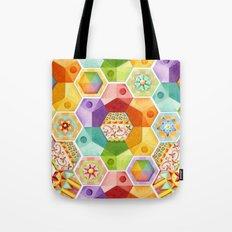 Circus Rainbow Hexagons Tote Bag