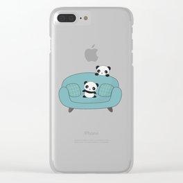 Kawaii Cute Pandas Clear iPhone Case