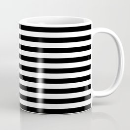 Midnight Black and White Horizontal Deck Chair Stripes Coffee Mug