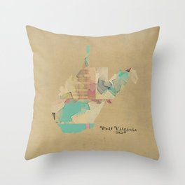 west virginia state map Throw Pillow