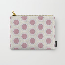Pink Hexagon and Cream Pattern Design Carry-All Pouch