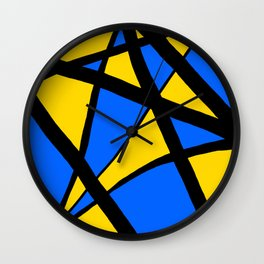 Yellow and Blue Triangles Abstract Wall Clock