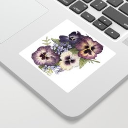 Watercolor Pansy Bouquet Sticker