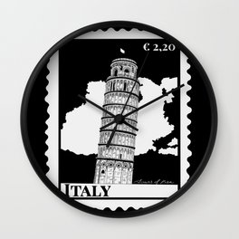 Leaning Tower of Pisa in Italy B&W Wall Clock