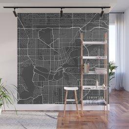 Edmonton Map, Canada - Gray Wall Mural