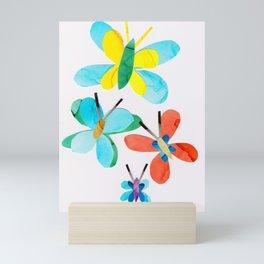 Blue Butterfly Collage, Flutterbye Mini Art Print