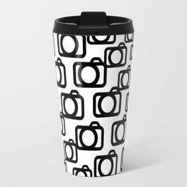 Photography Obsession, Camera Pattern Black and White Vector Travel Mug