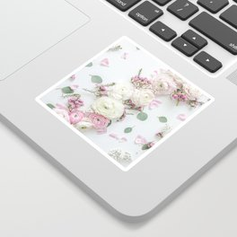 SPRING FLOWERS WHITE & PINK Sticker