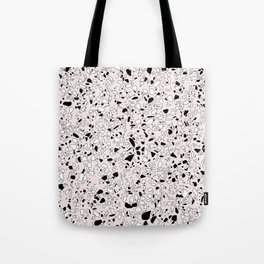 'Speckle Party' Pink Black White Dots Speckle Terrazzo Pattern Tote Bag