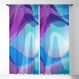 Blue And Purple Wavy Swirl Hippie Abstract Design Blackout Curtain