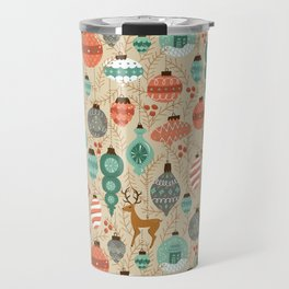 Holiday Ornaments in Aqua + Coral Travel Mug