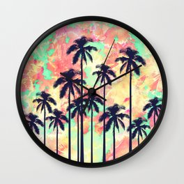 Colorful Neon Watercolor with Black Palm Trees Wall Clock