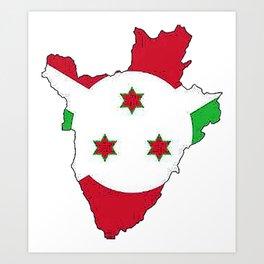 Burundi Map with Burundian Flag Art Print