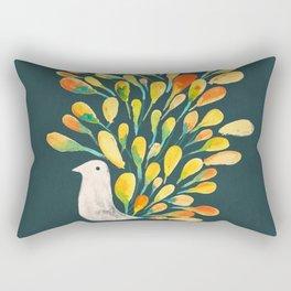 Watercolor Peacock Rectangular Pillow