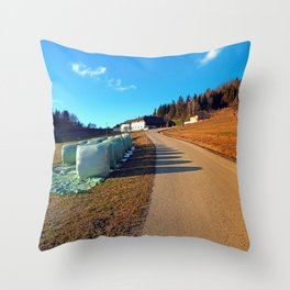 Hay bales along the hiking trail | landscape photography Throw Pillow