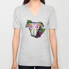 Greyhound - Whippet - Day of the Dead Sugar Skull Dog Unisex V-Neck