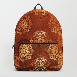 Copper brown and gold circle mandala pattern Backpack