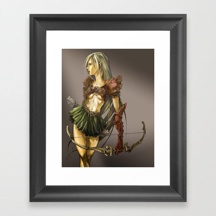 Elf with bow Framed Art Print