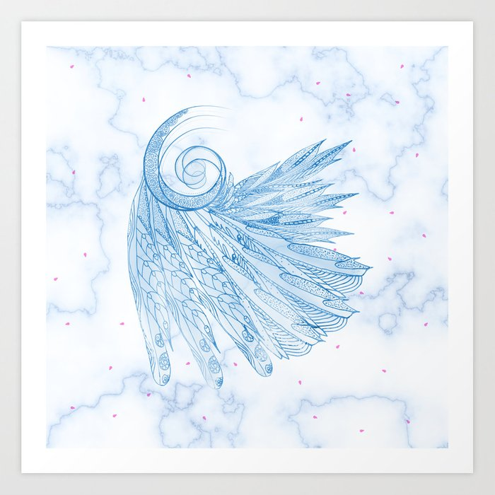 Beautiful Feathers on Blue Marble Design Art Print