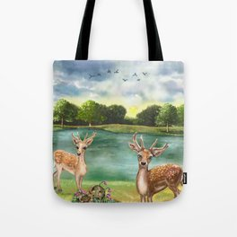 Quizzical Deer By Lake Tote Bag