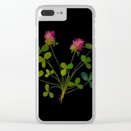 Trifolium Pratense Mary Delany Floral Flower Paper Collage Delicate Vintage Black Botanical Clear iPhone Case