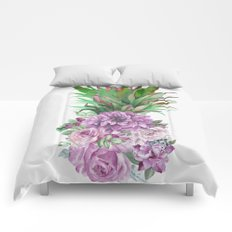 Floral Pineapple 1 Comforters