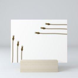 Just zip it (in white) Mini Art Print