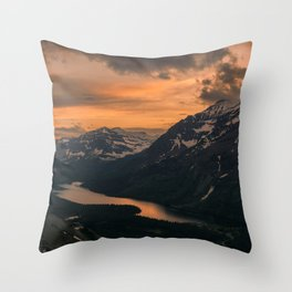 Magnificent Snow Covered Mountains And Idyllic Valley With River Ultra HD Throw Pillow