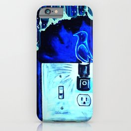 BLUE CANARY IN THE OUTLET BY THE LIGHTSWITCH iPhone Case