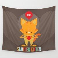 beaver Wall Tapestries featuring Smitten Kitten by Steph Dillon