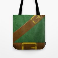 video game Tote Bags featuring Video Game Poster: Adventurer by Justin D. Russo