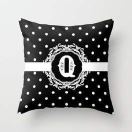 Black Monogram: Letter Q Throw Pillow