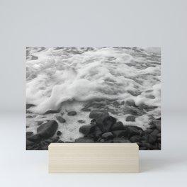 White Waves on Black Rocks Photographic Print Mini Art Print