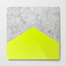 Geometric Concrete Arrow Design - Neon Yellow #521 Metal Print