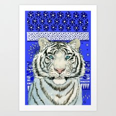 White Tiger in blue Az024 Art Print