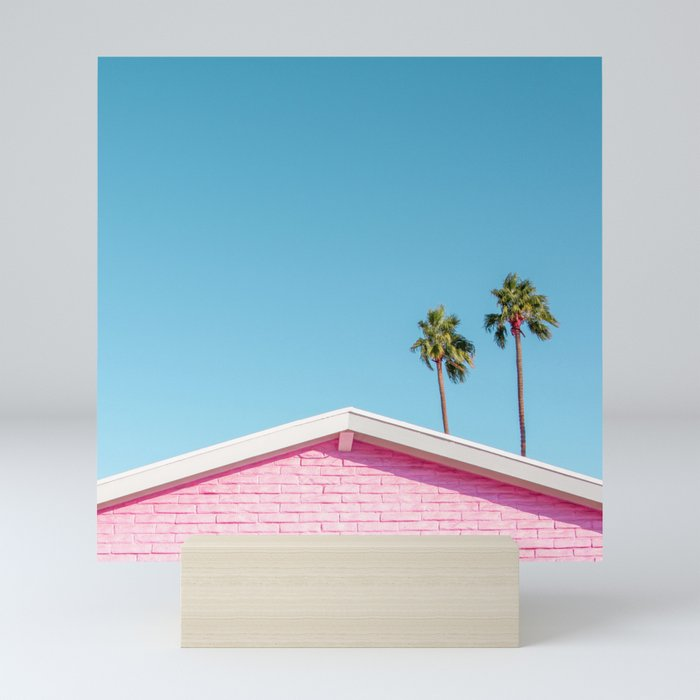 Pink House Roofline with Palm Trees (Palm Springs) Mini Art Print