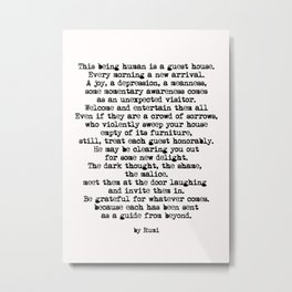 The Guest House 2 #poem #inspirational Metal Print