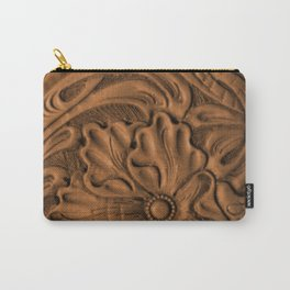 Golden Tanned Tooled Leather Carry-All Pouch