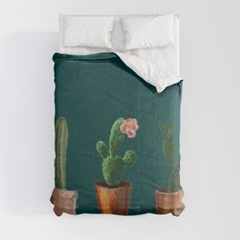 Three Cacti On Green Background Comforters