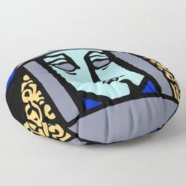 Jugendstil Einfuhrmesse Frankfurt blue Floor Pillow