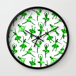 Watercolor Ballerinas (Green) Wall Clock