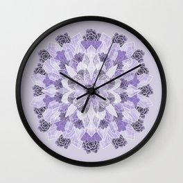 Crystals Succulents Mandala LILAC Wall Clock