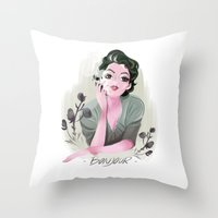 bonjour Throw Pillows featuring Bonjour by LisaArtWork