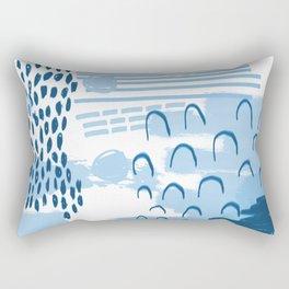 Yesta - abstract painting indigo blue dots mark making canvas painting Rectangular Pillow